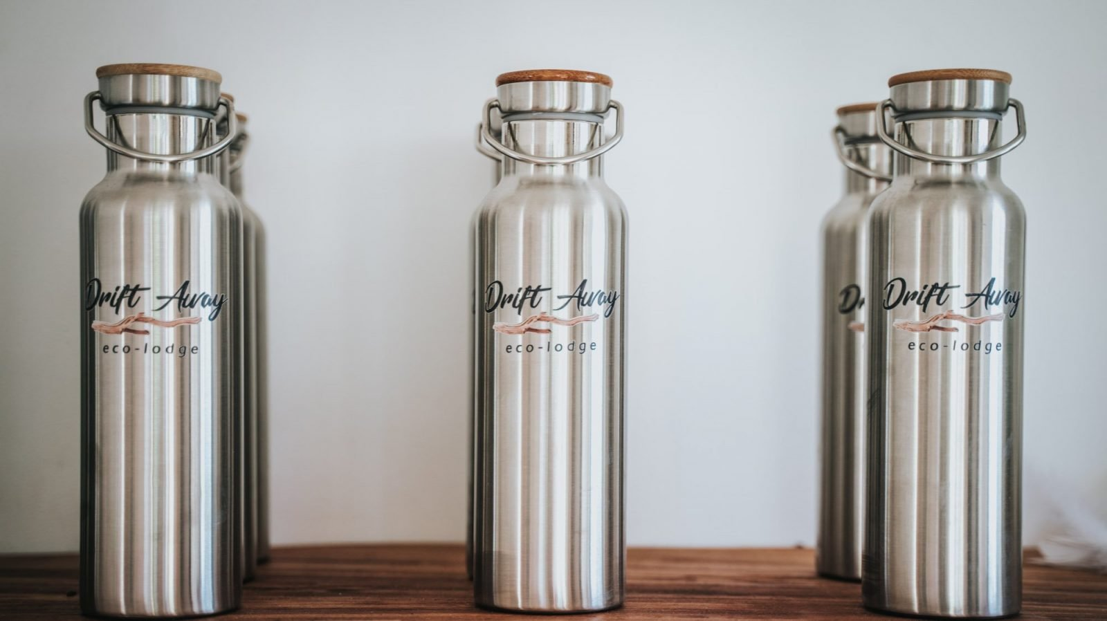 These stainless steel water bottles with the Drift Away logo are for sale in our hotel shop.