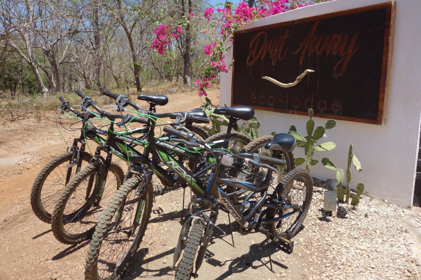 Bike riders will be happy to see several free bicycles waiting for them at the Drift Away Eco-Lodge.
