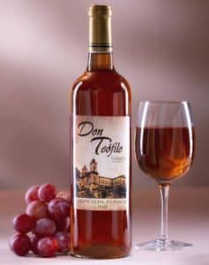 Bottle of Don Teofilo Costa Rican rose wine.