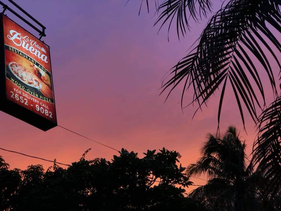La Vida Buena restaurante sign with sunset